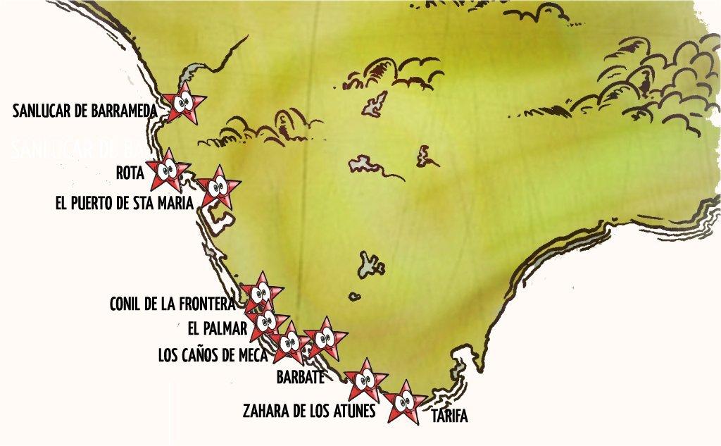 cádiz, caravana, coche, con encanto, con playa, Escapada, mapa, por libre, pueblos bonitos, pueblos costeros, viaje en pareja
